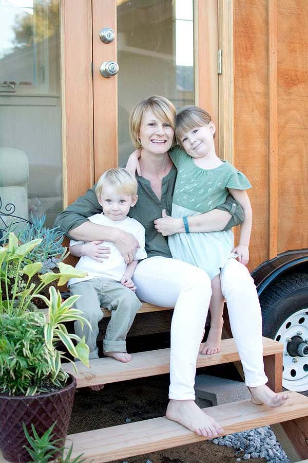 Alysha and kids tiny house