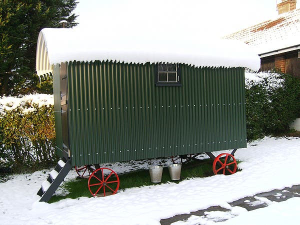 snow on hut