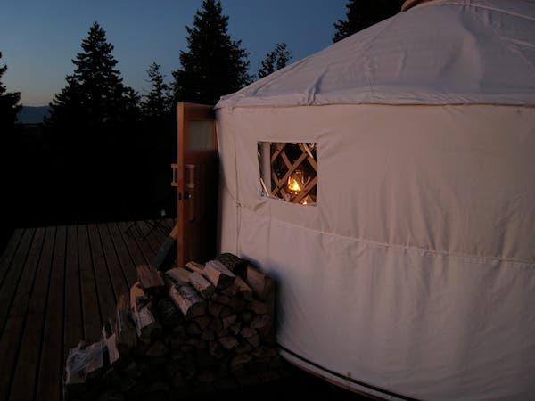 yurt in the evening