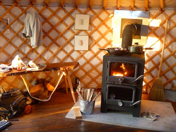 yurt and stove