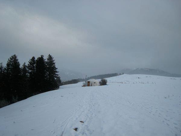 yurt and snow