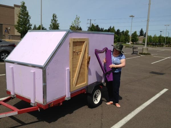 Tina Larkin and her Purple HarpMobile