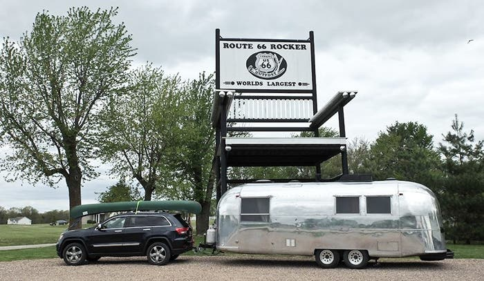 Kristin and Jason Snow towing their 1965 Airstream Overlander down historic Route 66.