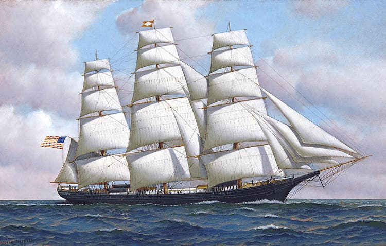 The American clipper ship Flying Cloud at sea under full sail.
