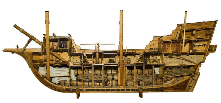 Model of a typical merchantman of the 17th century, showing the cramped conditions that had to be endured but also showing the use of space. Every inch is justly occupied. Photo courtesy of Musphot on Wikimedia Commons