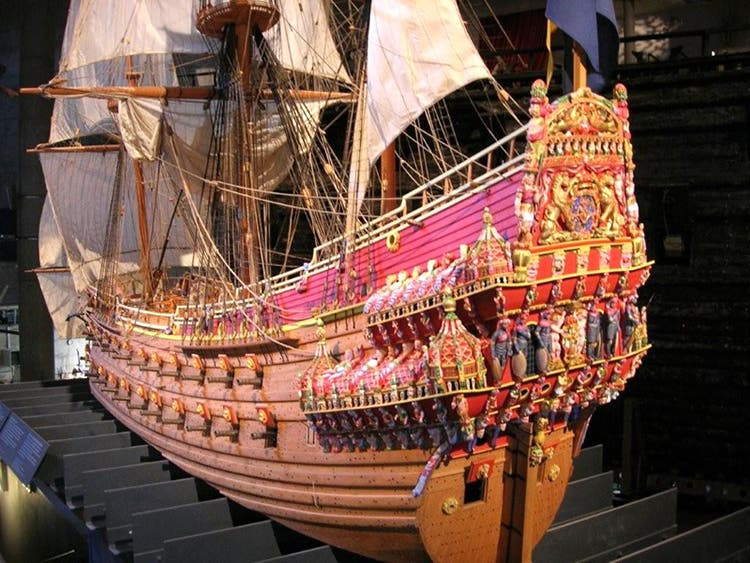 "A replica model of the Swedish ""Titanic"" - the pride of the Royal Navy. The largest ship built in Sweden at the beginning of the 17th century, the flagship ""Vasa"" included 64 large-caliber guns. The final weight was 1210 tons and construction took three years. The ship was richly decorated with carved statues of Roman emperors, Greek gods and mythical sea creatures. Lions on the bow were covered with real gold. FACT: Construction of the oak vessel required over one thousand trees and the ship features three masts and ten sails."