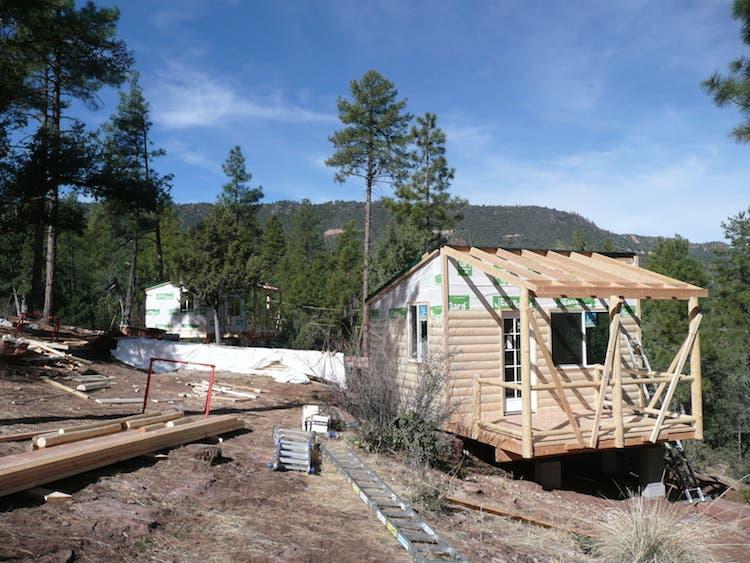 2x4 framing, log siding