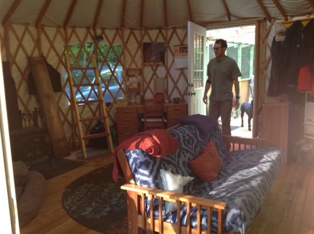 the big yurt, living room (9/2014)