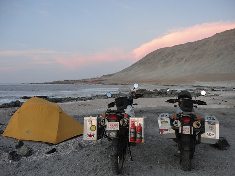 Motorcycles beach camping