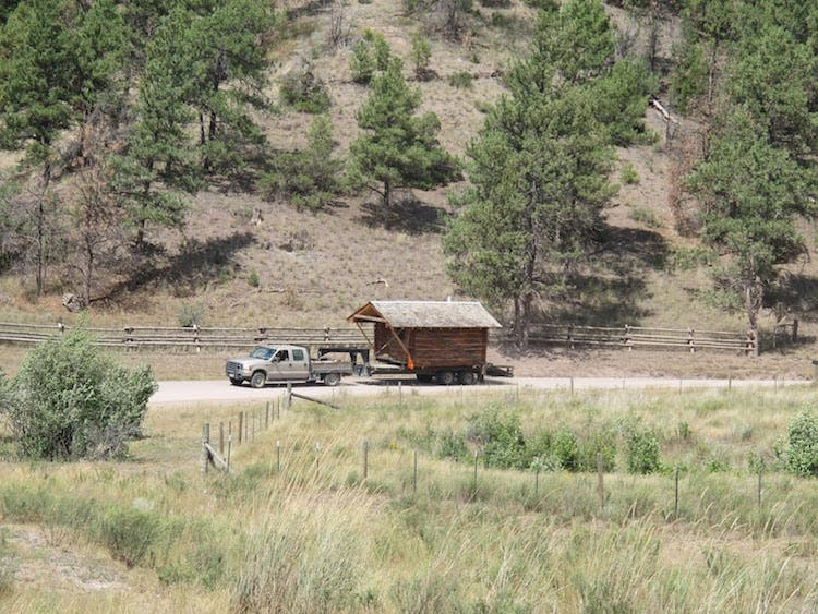 log cabin on the move