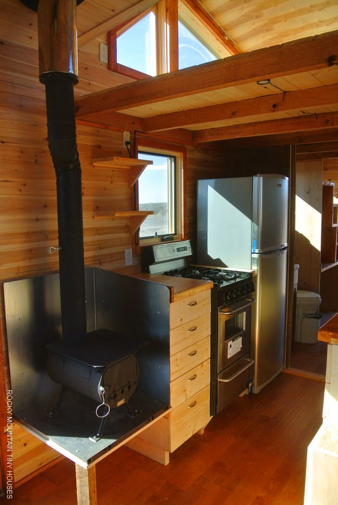Photographer Renovates Tiny House Wood Burning Stove - Colorado Cylinder Stoves A Great Woodstove For A Tiny House