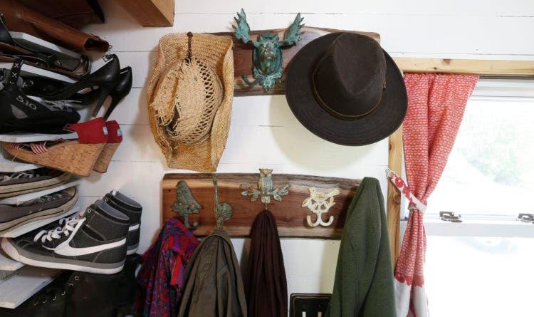 DIY coat rack with my flea market find, woodsy hooks