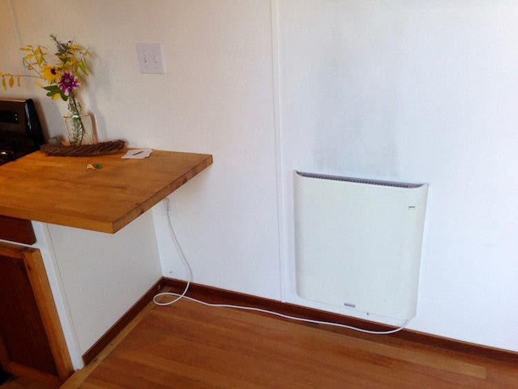 Envi heater inside tiny house