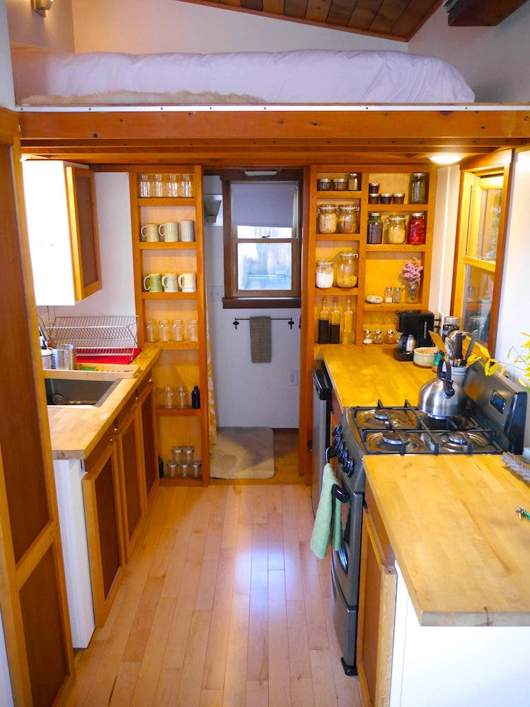 tiny house portland modern loft and kitchen