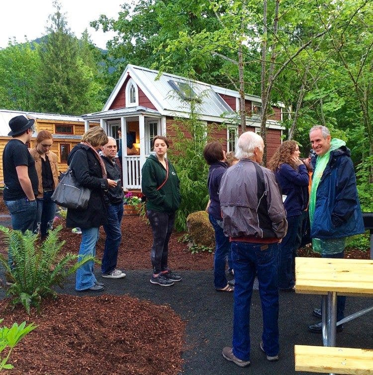 Steve visiting with tiny house visitors