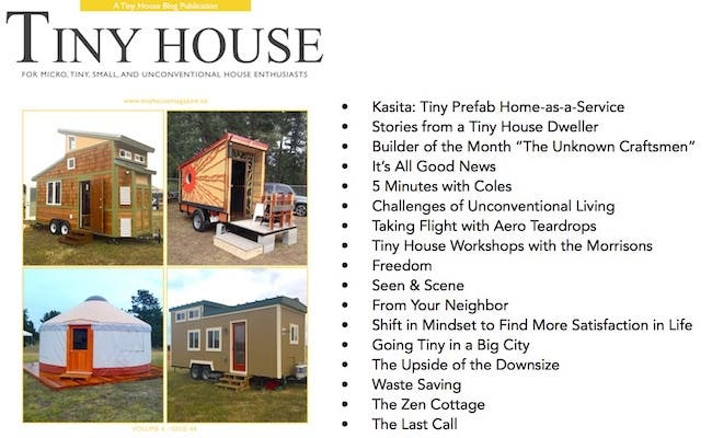 Tiny House Magazine Issue 44 cover and table of contents