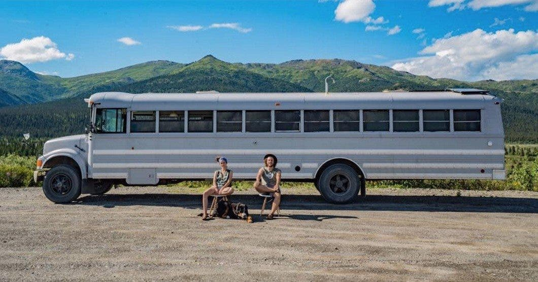 Artsy Couple Turned a School Bus into a Loft on Wheels Tiny