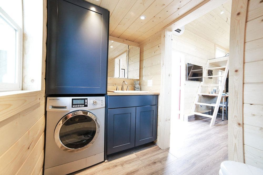 the mansions bathroom has enough room for a washerdryer combo - Tiny House Washer Dryer