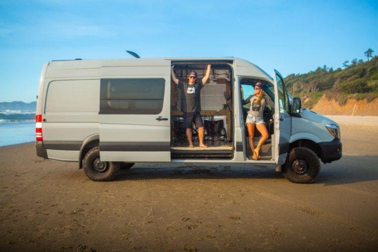 Sprinter Van Life >> Young Van Life Couple Chasing Waves and Dreams - Tiny House Blog