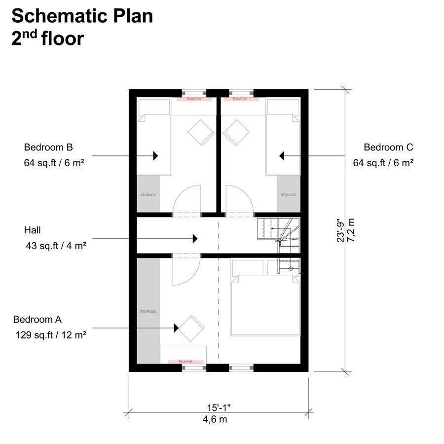 small-three-bedroom-house-plans-with-loft - Tiny House Blog