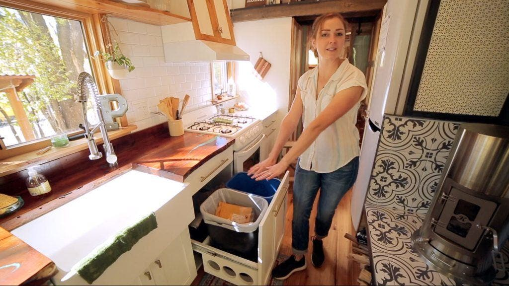 tiny house kitchen trash can