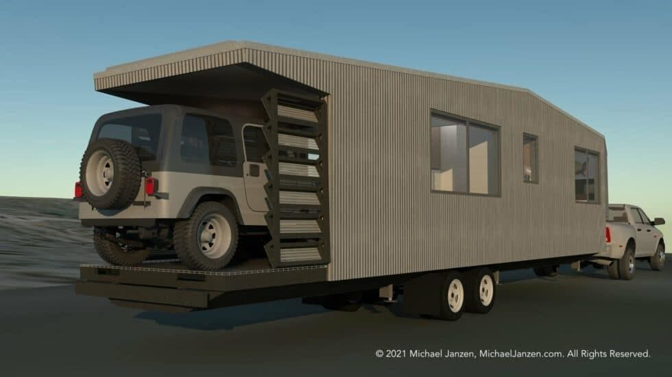 Road Trip Jeep Hauling Tiny House Concept