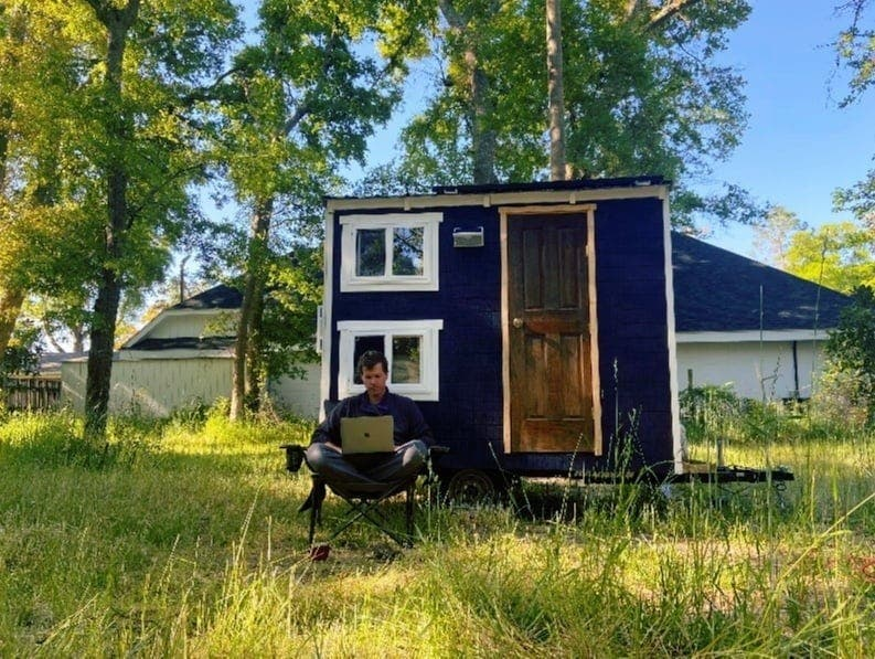 Stephen using Visible to work at his tiny house