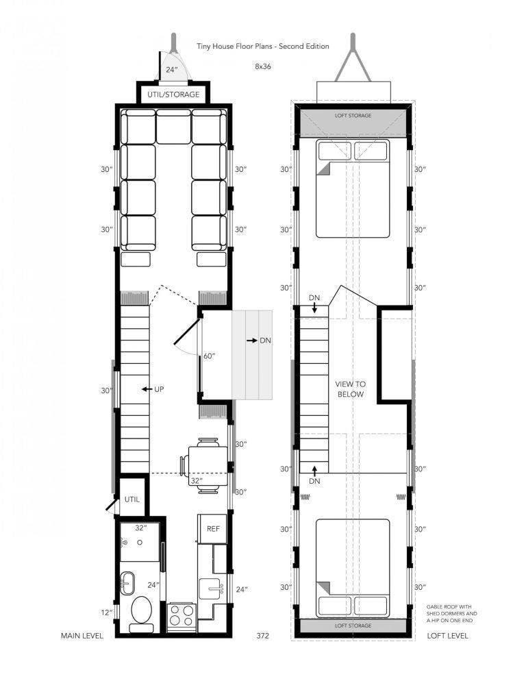 Tiny House Floor plans 36 foot