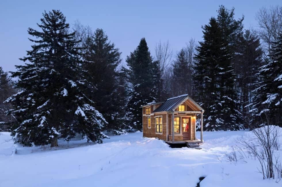 tiny house in snow